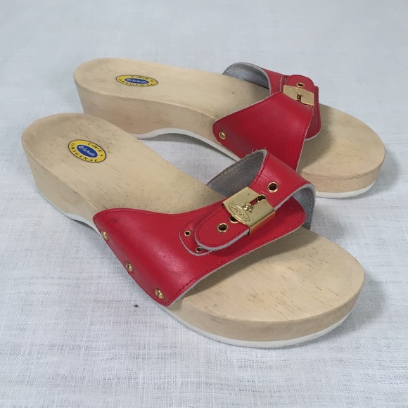 43dd191467ee Dr. Scholl s Shoes - Red Wooden 70 s Style Dr Scholls Sandals Women s